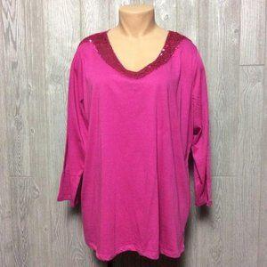 Avenue Pink Top Glitter Neckline PLUS SIZE 26 28